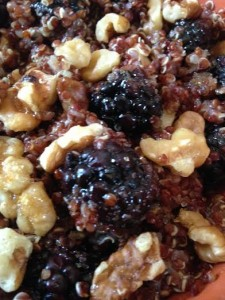 My breakfast quinoa with blackberries and walnuts